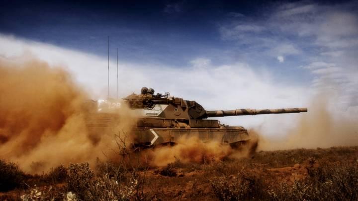 Обои картинки фото танк пыль война