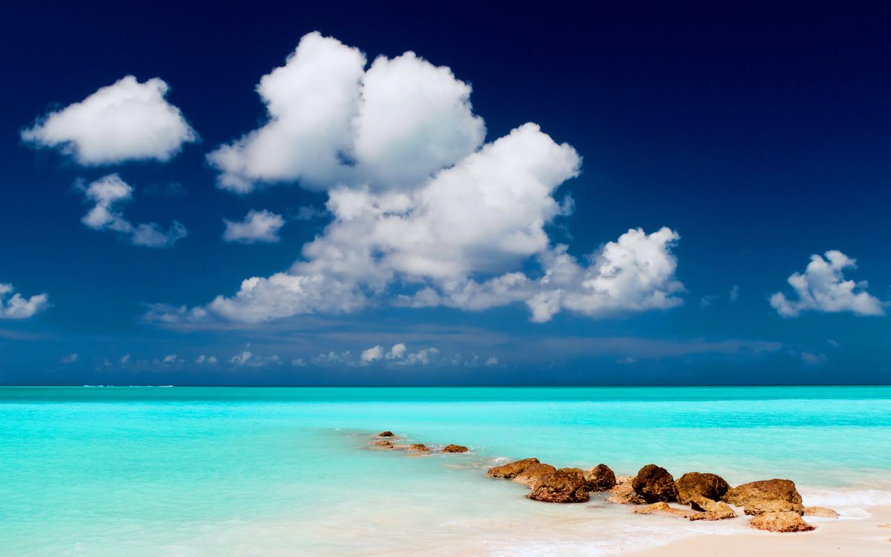 Пейзаж небо облака море песок пляж