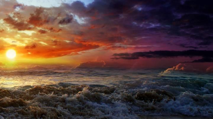 Обои картинки фото солнце море шторм